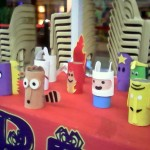 Close up of the characters at the bean bag toss