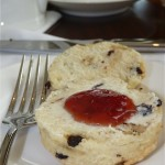 Raisin scones with fresh butter and jam